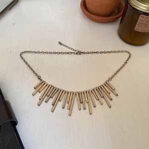 Silver Statement Necklace Square Bars